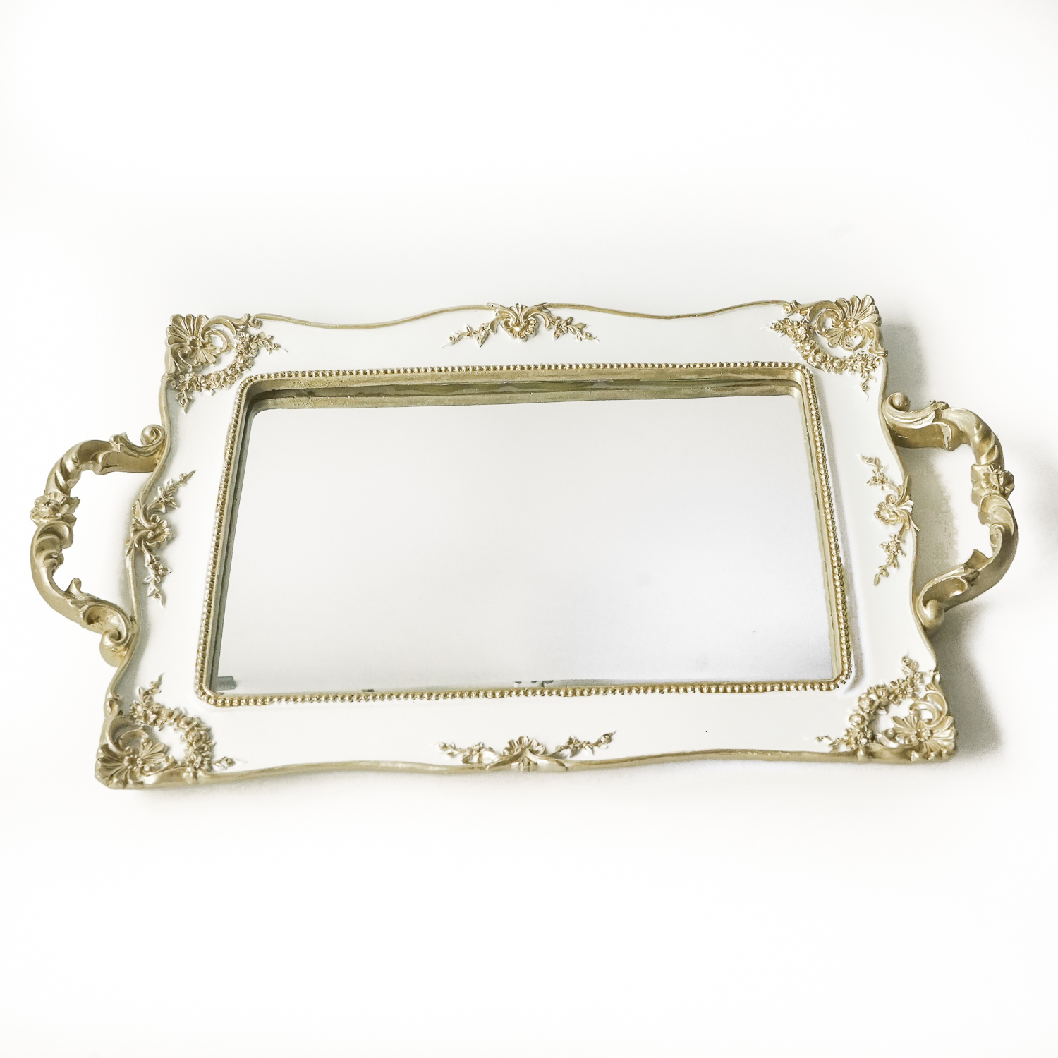 White And Gold Mirror Tray