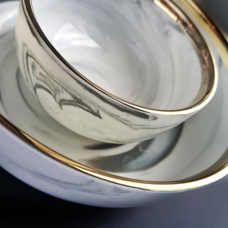Gold Rim Grey Marble Dinnerware
