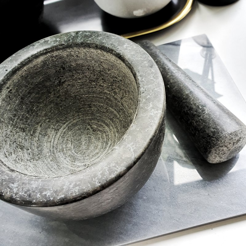 Nordic Dark Grey Marble Mortar And Pestle